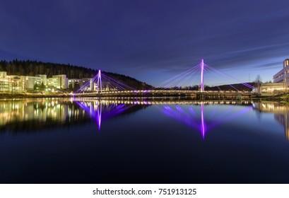 Pedestrian bridge in evening light