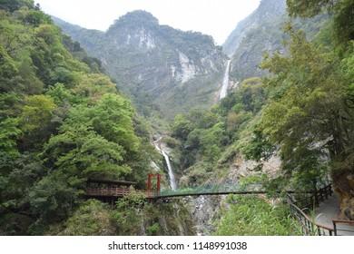 Pedestrian bridge inside Taroko National Park in Hualien county, Taiwan