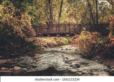 Pedestrian bridge over Big Chico Creek in Bidwell Park, CA.