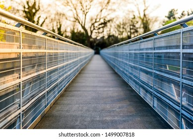 pedestrian bridge over uk motorway in evening england