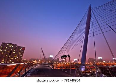 Pedestrian bridge walkway with night blue skyline.Cable stayed bridge.