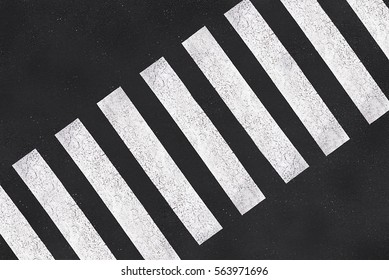 Pedestrian crossing, asphalt road top view