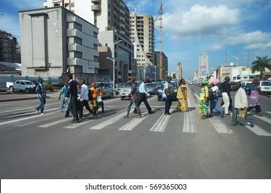 Pedestrian crossing in Kinshasa, Democratic Republic of the Congo in 2014