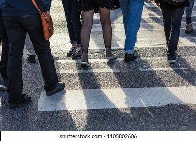 pedestrian crossing in the modern city