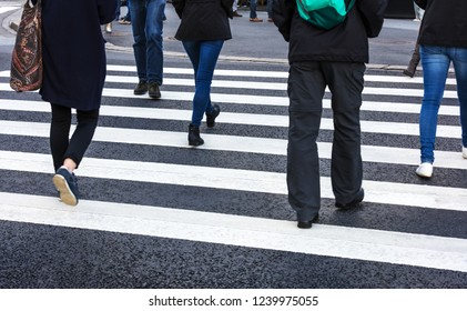 pedestrian crossing in the modern city