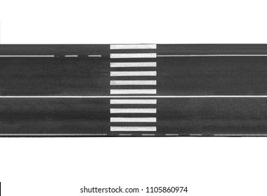 Pedestrian crossing on the road isolated on white background, top view.