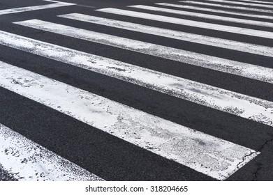 Pedestrian crossing on the road, zebra traffic walk way