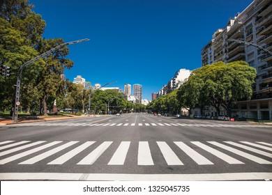 Pedestrian crossing over Av. Pres. Figueroa Alcorta in Buenos Aires, Argentina.