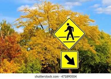 Pedestrian crossing sign with fall colors background. A pedestrian crossing and arrow sign with sunny autumn day fall tree colors, blue sky and white clouds in background.