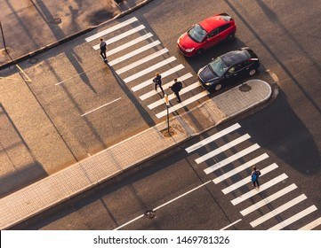 Pedestrian crossing. View from above.