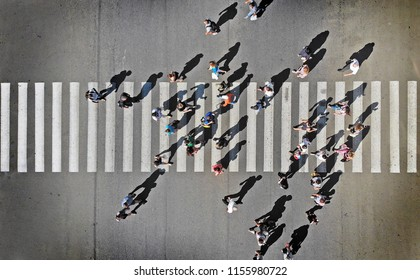 Pedestrian crosswalk aerial view from above
