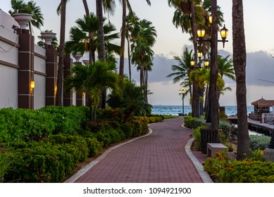 A pedestrian driveway surrounded by palm trees at sunset in the small town of Oranjestad, Aruba