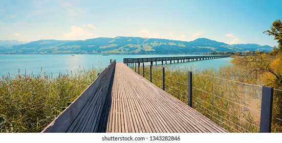 pedestrian footbridge across lake zurichsee, st gallen switzerland