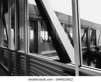 Pedestrian Glass Bridge in black and white