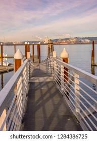 Pedestrian ladder to the floating marina dock Rainier OR.