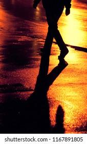 Pedestrian at night