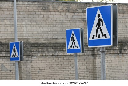 Pedestrian overground crossing, Zebra and human signs, pedestrian crossing signs