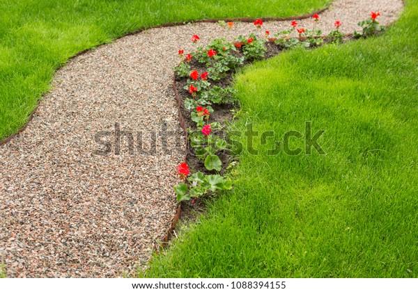 Pedestrian Path Small Gravel Garden Along Stock Photo Edit Now