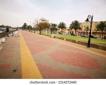 Pedestrian Road in Jubail Industrial City Saudi Arabia June 16, 2019
