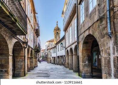 Pedestrian street in old town Santiago de Compostela, Spain.