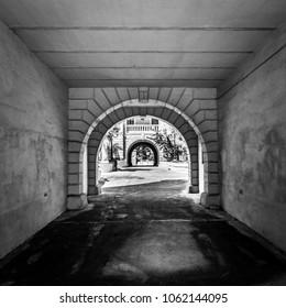 The pedestrian tunnel going through all the Victorian quarters in Mtarfa Malta