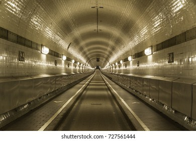 Pedestrian and vehicle tunnel in Hamburg under the Elbe river (Old Elbe Tunnel).