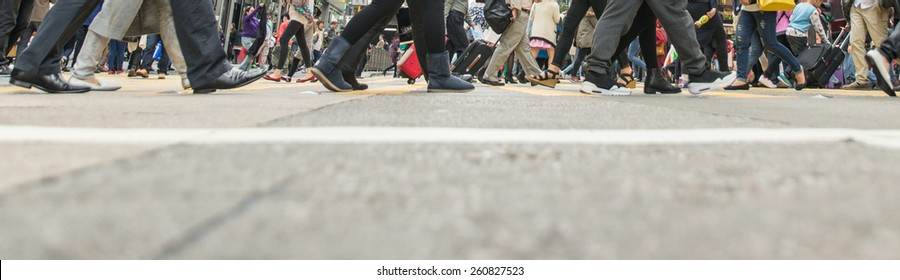 pedestrian walking on the streets of Hong kong