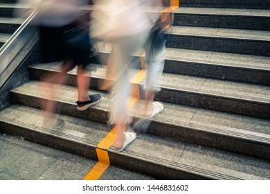 pedestrian walking upstairs with motion blur technique