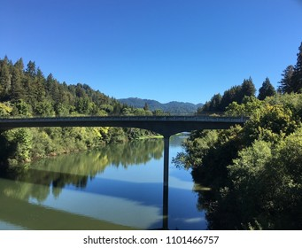 Pedestrian walkway over Russian River in Sonoma County CA