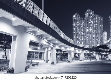 pedestrian walkway in residential district in Hong Kong city at night