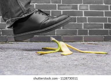 a pedestrian will slip on a discarded banana peel
