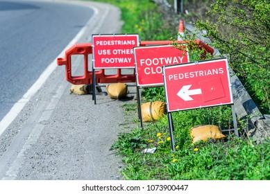 Pedestrians Footpath Closed Roadworks signs UK motorway