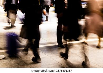 Pedestrians on busy street