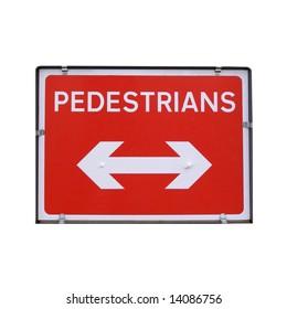 Pedestrians sign for road works