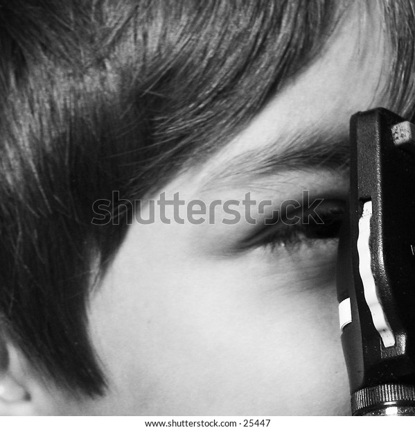 Pediatric eye exam, grayscale version