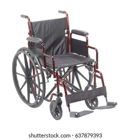 Pediatric Wheelchair with Padded Arms and Elevating Leg Rest  Isolated on White Background. Medical Equipment. Transport Chair