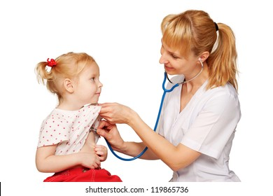 Pediatrician with child. Doctor listening to the child's heart, examining heartbeat. Space for your logo or symbol. Isolated on white background. Doctor concept