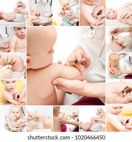 Pediatrician giving an intramuscular injection of vaccine to little baby girl