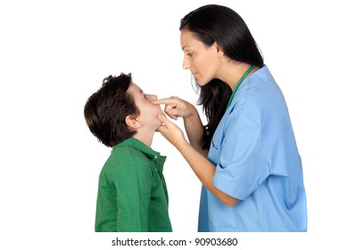 Pediatrician woman making a checkup for child isolated on white background