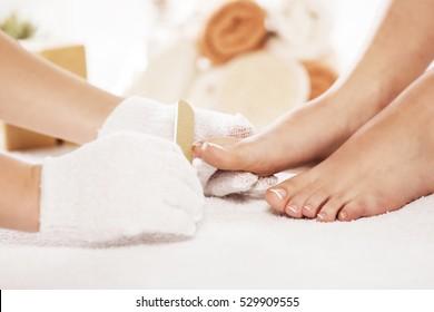 Pedicure. Foot care treatment in spa.