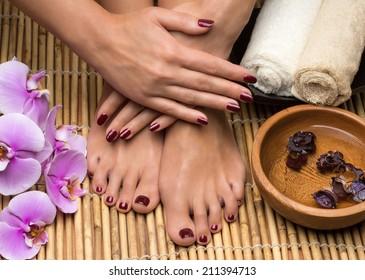 Pedicure and manicure in the salon spa