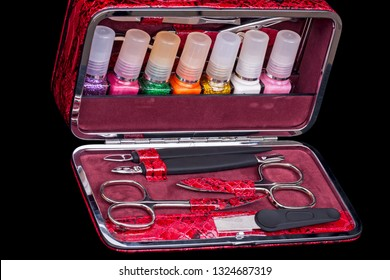 Pedicure and manicure set of ten items on a black background