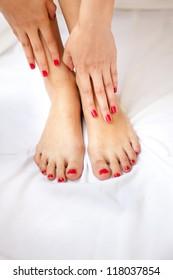 Pedicure and manicure in a spa