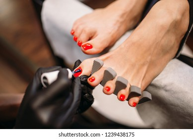 Pedicure master cover with polish foot nails