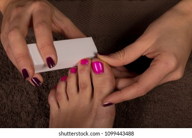 Pedicure and Nail polishing in salon spa