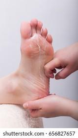 pedicure process and spa procedure macro closeup. Concept body care.