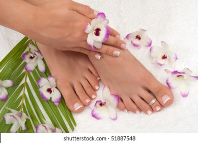 Pedicured feet manicured hands
