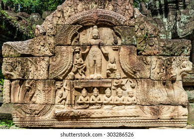 pediment with bas-reliefs of the archaeological place of ta som in siam reap cambodia