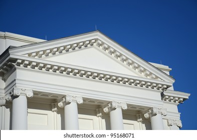 Pediment, Lintel and Columns in Greek Style Architecture