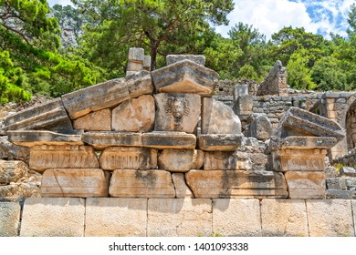 Pediment of a temple type grave at the Eastern Necropolis at the ancient Lycian City of Arykanda. Grave decorated with a Gorgon head. I recommend all to go and see it. Antalya-Turkey